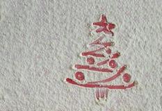 Christmas tree on flour background. White flour looks like snow Royalty Free Stock Photos