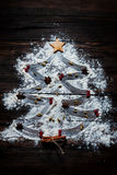 Christmas tree with the flour, cinnamon and anise star spices Stock Photo