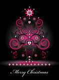Christmas tree with flower and curl. Christmas tree with pink flower and curl Royalty Free Stock Photo