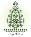 Christmas tree with flower  and curl. Christmas tree with flower pattern and curl Stock Photography