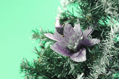 Christmas tree with flower on green background Stock Photo