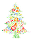 Christmas Tree of flowers. Christmas Tree of beautiful painted flowers. Floral fir-tree, hand drawn zentangle. Colored Vector illustration. Use for cards Stock Photos
