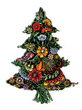 Christmas Tree of flowers. Christmas Tree of beautiful painted flowers. Floral fir-tree, hand drawn zentangle. Colored Vector illustration. Use for cards Royalty Free Stock Images