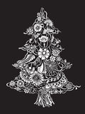 Christmas Tree of flowers. Christmas Tree of beautiful painted flowers. Floral fir-tree, hand drawn zentangle. Monochrome Vector illustration. Use for cards Stock Photo