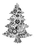 Christmas Tree of flowers. Christmas Tree of beautiful painted flowers. Floral fir-tree, hand drawn zentangle. Monochrome Vector illustration. Use for cards Royalty Free Stock Photo