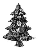 Christmas Tree of flowers. Christmas Tree of beautiful painted flowers. Floral fir-tree, hand drawn zentangle. Monochrome Vector illustration. Use for cards Stock Photos