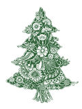 Christmas Tree of flowers. Christmas Tree of beautiful painted flowers. Floral fir-tree, hand drawn zentangle. Vector illustration. Use for cards, invitation Stock Photography