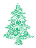 Christmas Tree of flowers. Christmas Tree of beautiful painted flowers. Floral fir-tree, hand drawn zentangle. Vector illustration. Use for cards, invitation Royalty Free Stock Photos