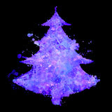 Christmas tree with fluorescent splash texture Stock Photography