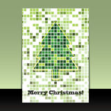 Christmas Tree Flyer or Cover Design. Colorful Mosaic Christmas Flyer or Cover Design in Freely Scalable & Editable Vector Format Stock Image