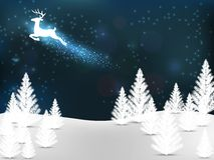Christmas tree and flying reindeer Stock Photography