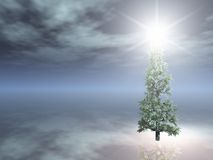 Christmas Tree on foggy night Royalty Free Stock Photography