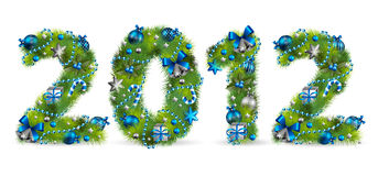 Christmas tree font. 2012, christmas tree font. Vector illustration Royalty Free Stock Image