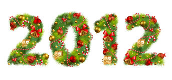 Christmas tree font. 2012, christmas tree font. Vector illustration vector illustration