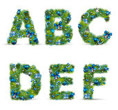 Christmas tree font. ABCDEF, christmas tree font with baubles. Vector illustration Stock Illustration