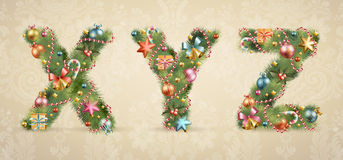 Christmas tree font with baubles Royalty Free Stock Image