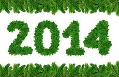 2014, christmas tree font Stock Photography