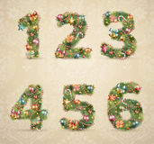 Christmas Tree Font With Baubles Royalty Free Stock Photography