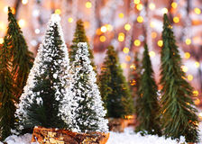 Christmas tree forest. Holiday background with winter ornament & abstract defocus lights decoration Royalty Free Stock Images