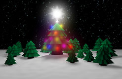 Christmas tree in forest Stock Photography