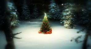 Christmas tree in forest. Lone decorated christmas tree in wooded clearing stock illustration