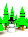 Christmas Tree Forest Snowman. A Christmas scene of a snowman in a forest Royalty Free Stock Photography