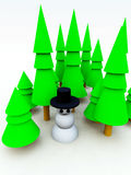 Christmas Tree Forest Snowman. A Christmas scene of a snowman in a forest Stock Photo