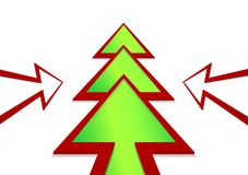 Christmas tree in the form of a arrow on a white background. Christmas tree in the form of a green arrow on a white background Stock Illustration