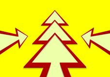 Christmas tree in the form of a red arrow on a yellow background. New Year tree in the form of a red arrow on a yellow background Vector Illustration