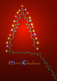 Christmas tree formed garland lights Royalty Free Stock Images