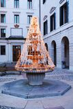 Christmas tree, fountain and Treviso city, Italy stock photography
