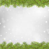Christmas tree frame on blurred silver star background Stock Photography