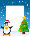 Christmas Tree Frame - Cute Penguin. Christmas vertical photo frame with a Christmas tree and a a happy penguin smiling in a snowy scene. Eps file available Royalty Free Stock Photos