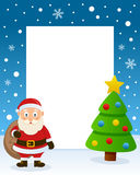 Christmas Tree Frame - Cute Santa Claus Royalty Free Stock Images