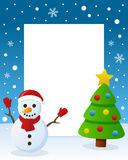 Christmas Tree Frame - Cute Snowman. Christmas vertical photo frame with a Christmas tree and a happy snowman smiling in a snowy scene. Eps file available Stock Images