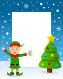 Christmas Tree Frame - Drunk Green Elf. Christmas vertical photo frame with a Christmas tree and a drunk green elf smiling in a snowy scene. Eps file available Royalty Free Stock Image