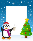 Christmas Tree Frame - Drunk Penguin. Christmas vertical photo frame with a Christmas tree and a drunk penguin singing in a snowy scene. Eps file available Stock Image