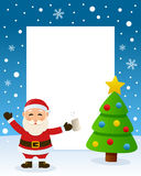 Christmas Tree Frame - Drunk Santa Claus. Christmas vertical photo frame with a Christmas tree and a drunk Santa Claus in a snowy scene. Eps file available Royalty Free Stock Photos