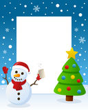 Christmas Tree Frame - Drunk Snowman. Christmas vertical photo frame with a Christmas tree and a drunk snowman in a snowy scene. Eps file available Royalty Free Stock Photos