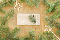 Christmas tree frame and envelope with decoration Stock Images