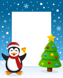 Christmas Tree Frame with Happy Penguin Stock Photography
