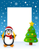 Christmas Tree Frame - Happy Penguin. Christmas vertical photo frame with a Christmas tree and a happy penguin smiling in a snowy scene. Eps file available Royalty Free Stock Images