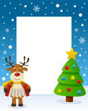 Christmas Tree Frame - Happy Reindeer. Christmas vertical photo frame with a Christmas tree and a happy reindeer playing the accordion in a snowy scene. Eps file Stock Image