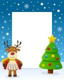 Christmas Tree Frame - Happy Reindeer Stock Image