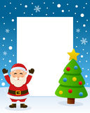 Christmas Tree Frame - Happy Santa Claus. Christmas vertical photo frame with a Christmas tree and a happy Santa Claus smiling in a snowy scene. Eps file Stock Photos