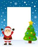 Christmas Tree Frame - Happy Santa Claus Stock Photos