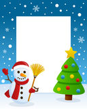 Christmas Tree Frame with Happy Snowman. Christmas vertical photo frame with a Christmas tree and a happy snowman smiling and holding a broom in a snowy scene Stock Image