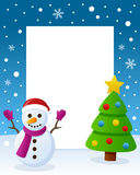 Christmas Tree Frame - Happy Snowman. Christmas vertical photo frame with a Christmas tree and a happy snowman smiling in a snowy scene. Eps file available Royalty Free Stock Photography