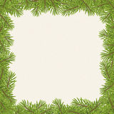 Christmas tree frame isolated on paper background Stock Photos
