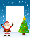 Christmas Tree Frame with Santa Claus Stock Photography